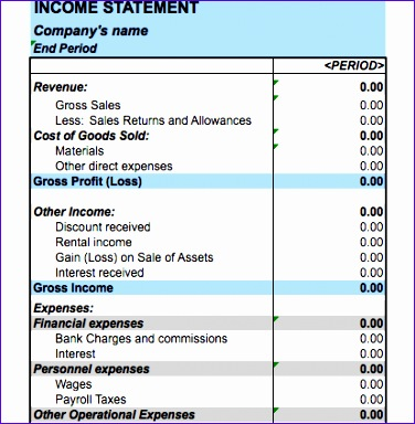 In E Statement Templates  Income Statement Spreadsheet