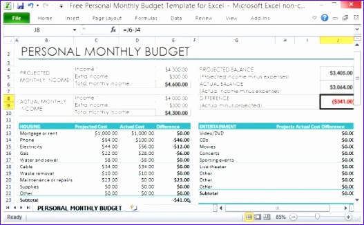 free personal monthly bud template for excel 527327