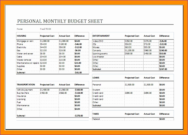 2 excel monthly bud sheet 774555
