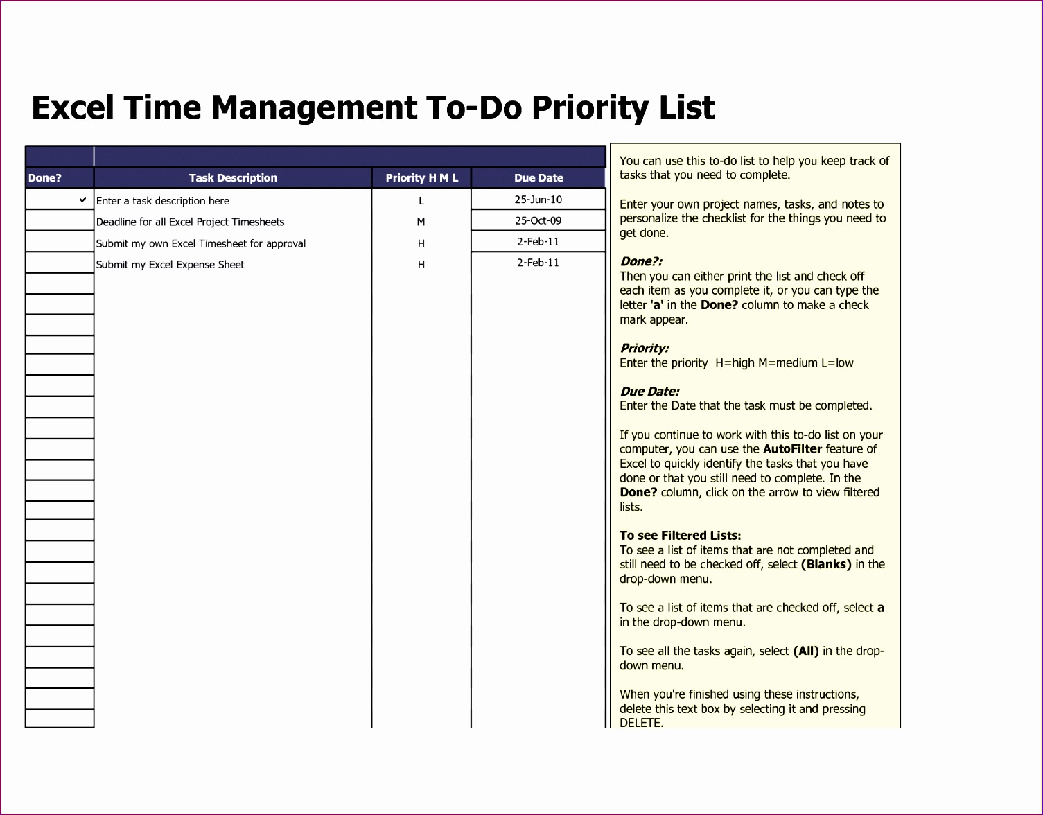 5 Excel Template to Do List - ExcelTemplates - ExcelTemplates