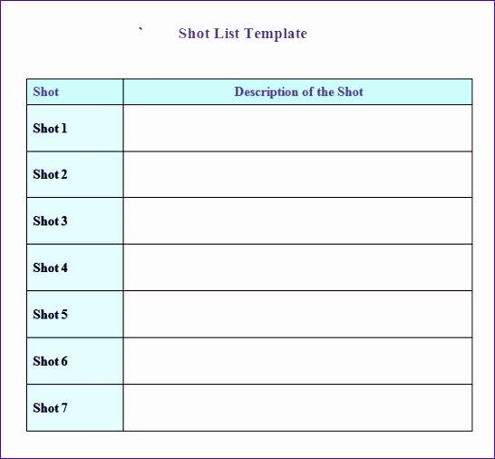 shot list template 546506
