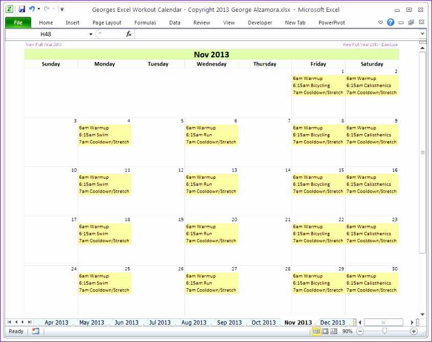 calendar 2013 template free excel 845668