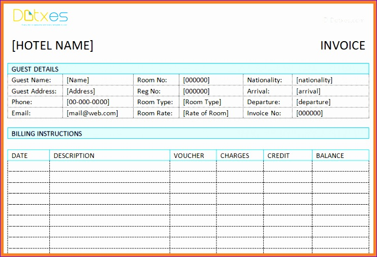 4 hotel invoice format excel 742506