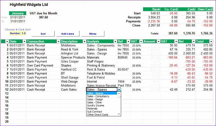 cash accounting spreadsheet with standard vat p 19 840491