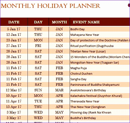 buddhist holiday calendar 515489