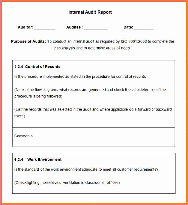 6 internal audit report template 631688