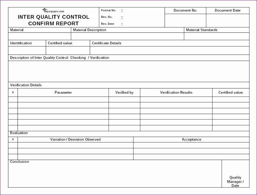 quality report format in excel sample