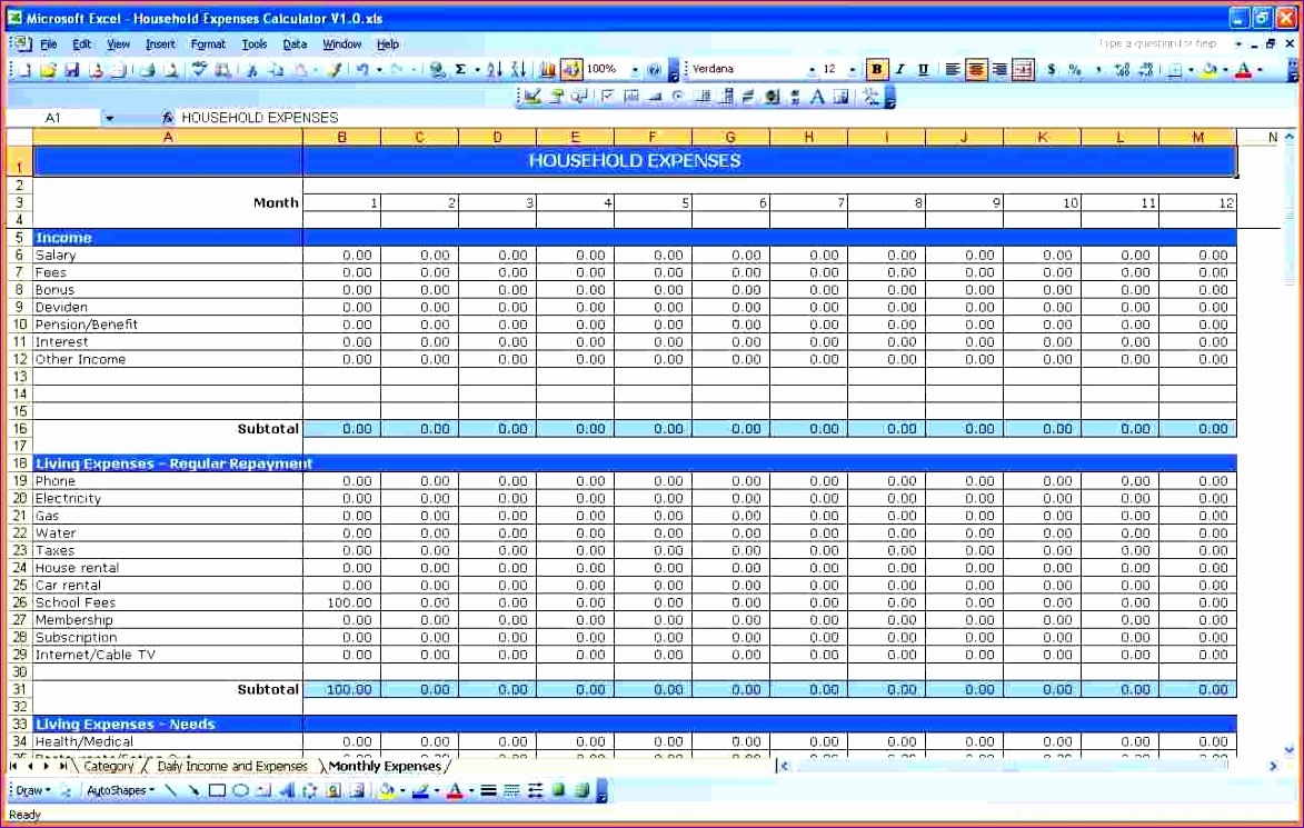 8 monthly spending spreadsheet