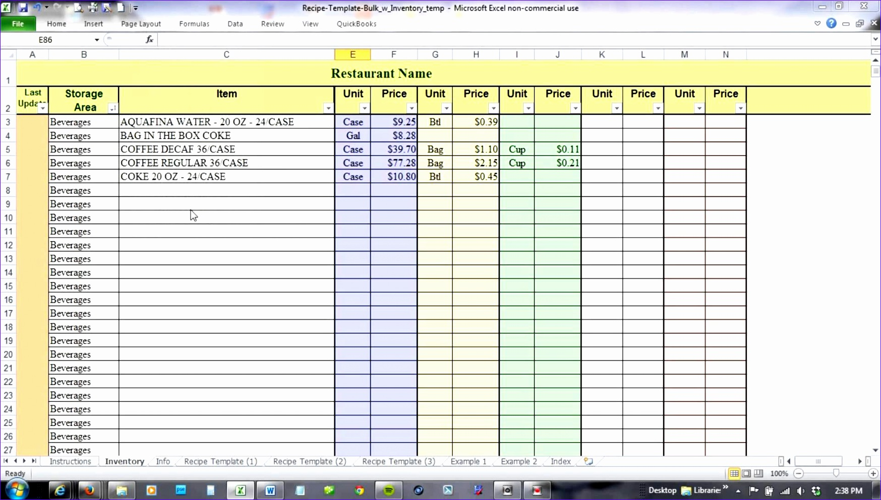 food cost inventory spreadsheet 1747993