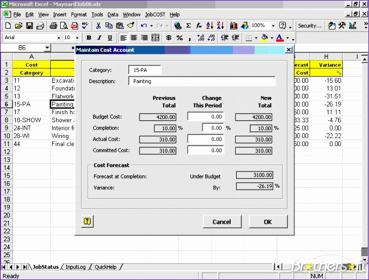 jobcost controller for excel 728552