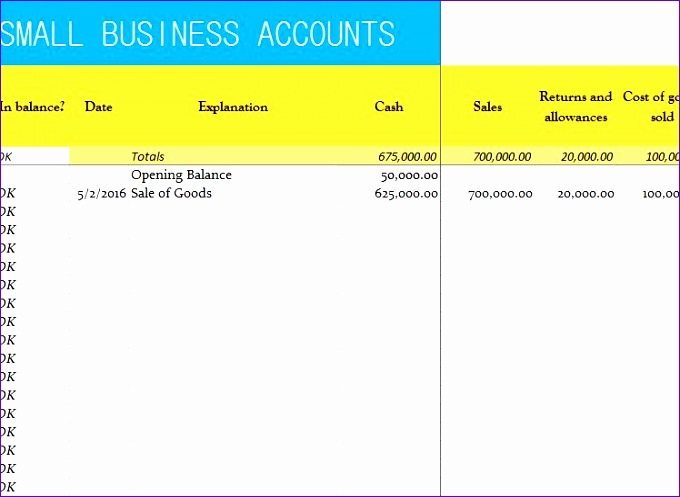 small business accounts sheet 680497
