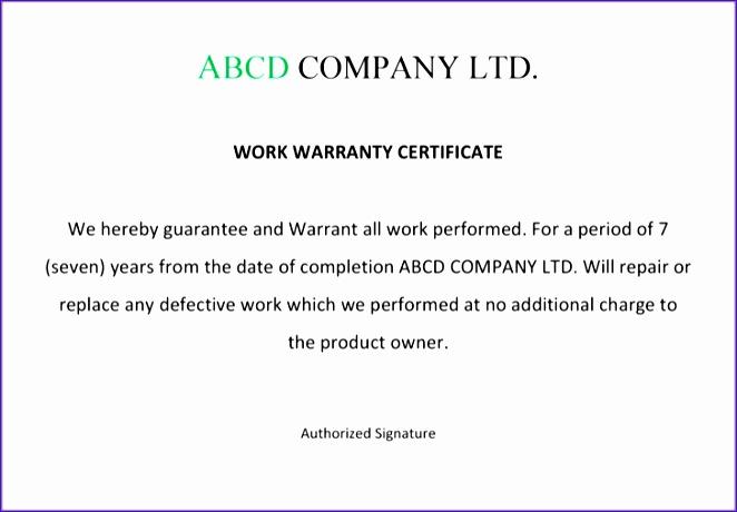 warranty certificate format 662460