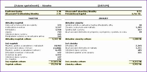 Súvaha s ukazovateľmi a prevádzkovým kapitálom TM 500247