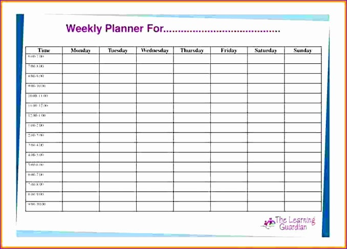 7 weekly planner template with times 678487