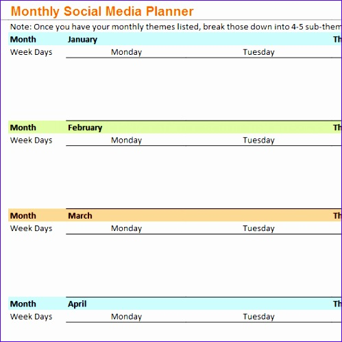 monthly social media planner 499499