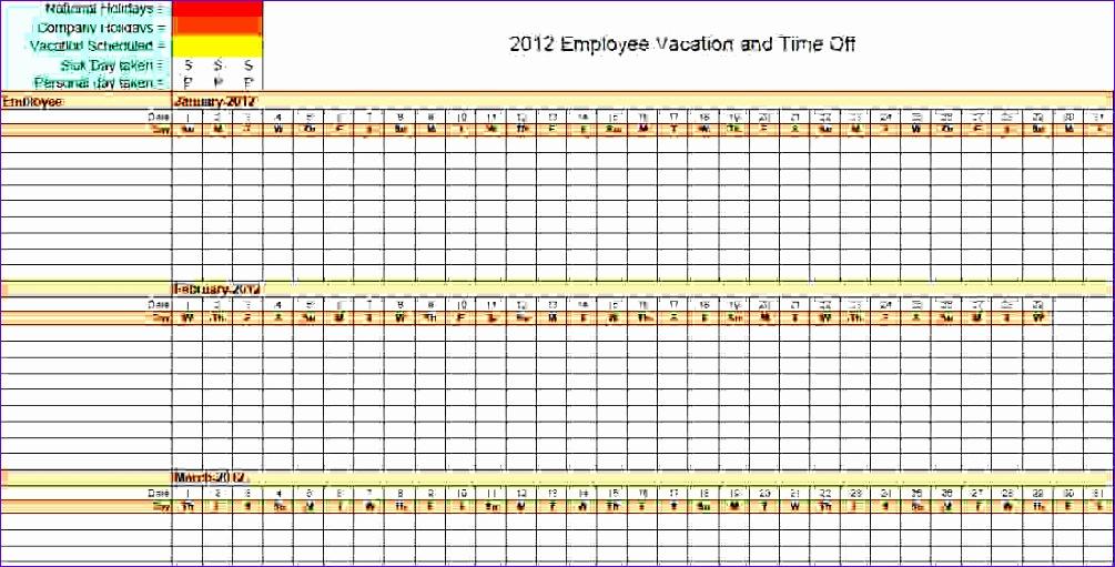 6 vacation calendar template