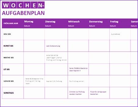 Wöchentliche Aufgabenliste TM 453351