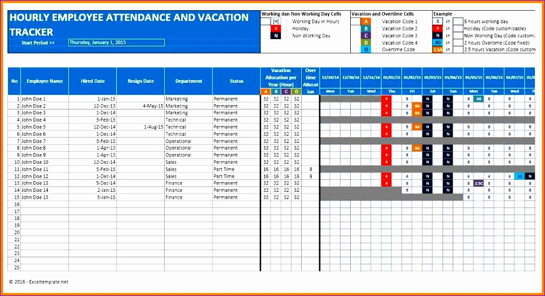 5 employee vacation tracking spreadsheet template 1122611