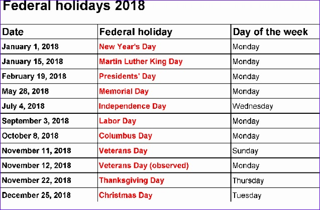 federal holidays in january 2018 637419
