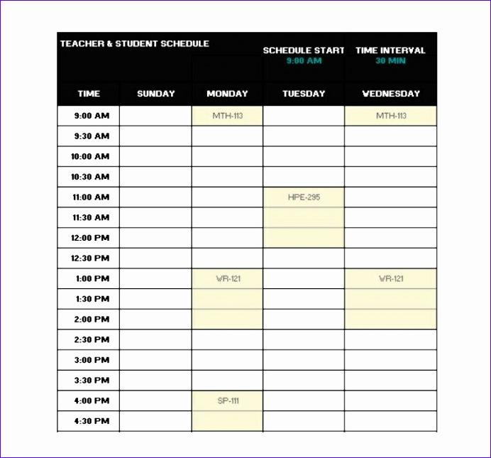 standard school schedule template in excel format 692645