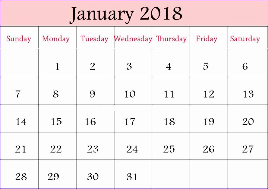 january 2018 printable calendar 2316 889628