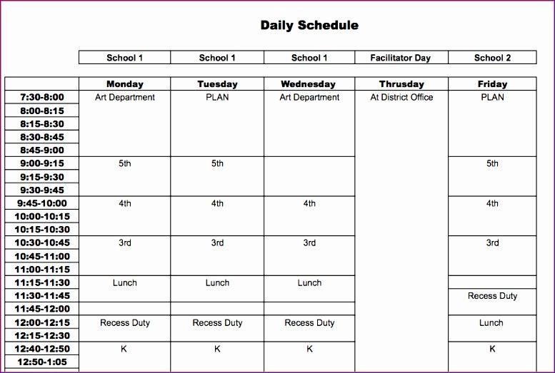 teacher schedule template 760