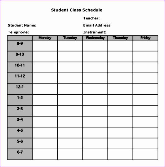 free class schedule template 532538