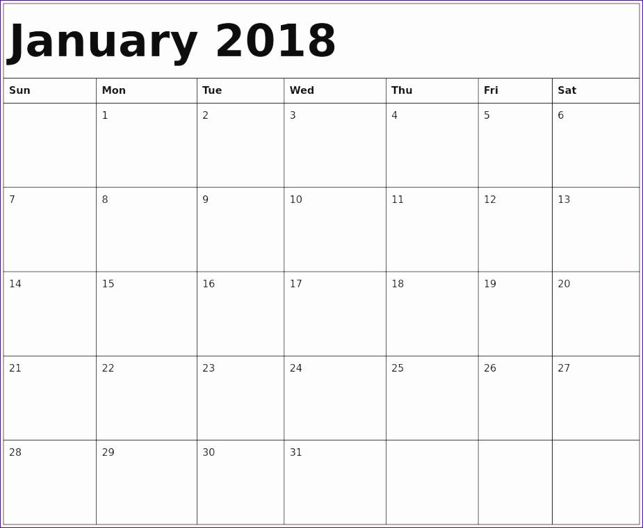 january 2018 calendar template 2275 925760