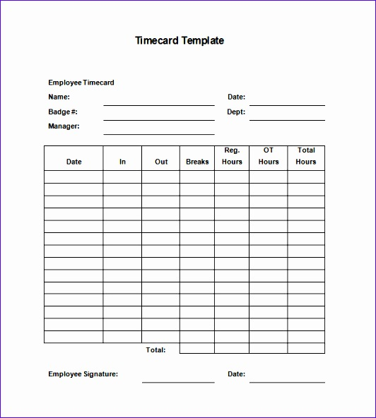 Timecard Template 532592  Blank Time Card Template