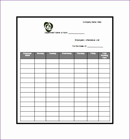 attendance list template
