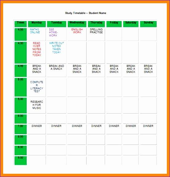 study schedule templates 552572