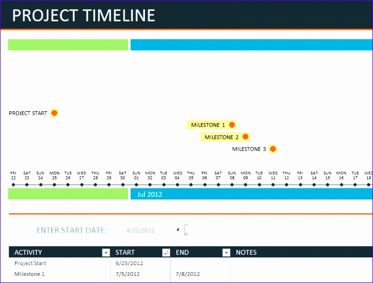 project timeline template excel 1288