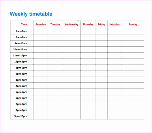 how to make a revision timetable on excel
