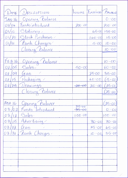 cash book format