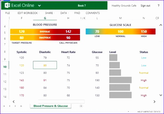blood pressure and glucose tracker for excel
