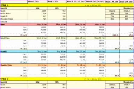 weight training spreadsheet template 444298