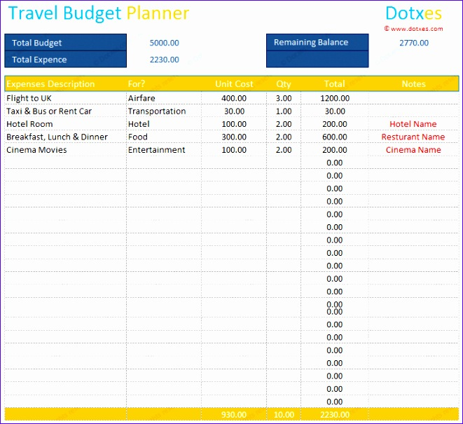 Excel Travel Budget Template  Exceltemplates  Exceltemplates