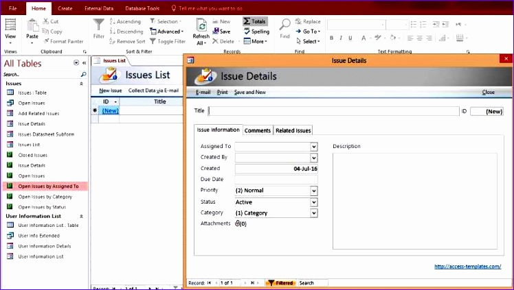 microsoft access issues list tracking templates database 592 748423
