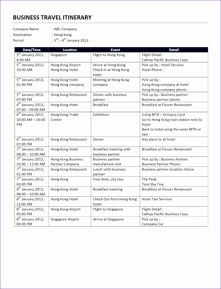 business travel itinerary template 798 9281214