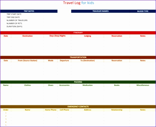 travel log template 591484