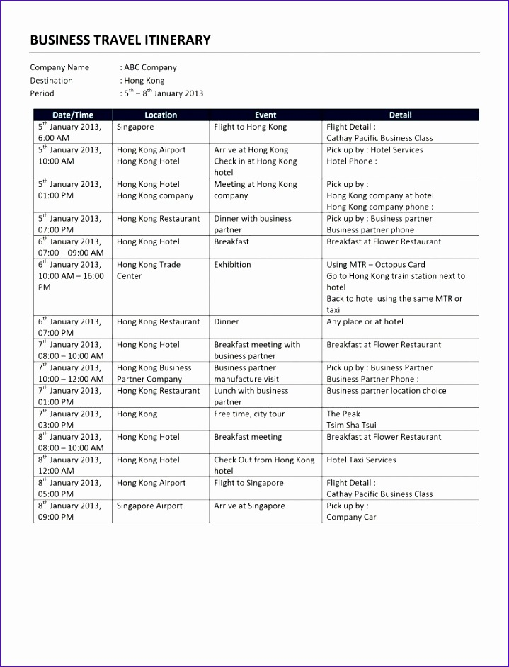 travel itinerary template microsoft word