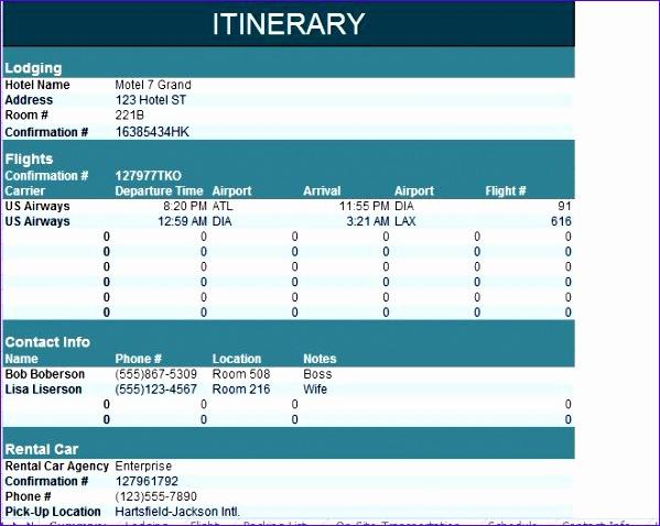 itinerary templates 599478