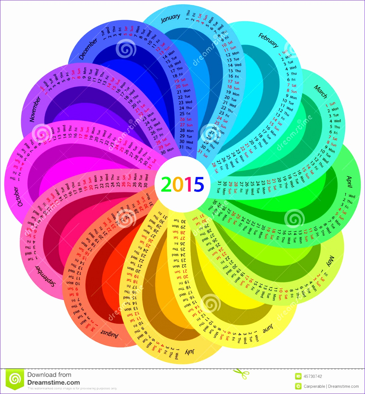 stock illustration round calendar rainbow colors shape white background image