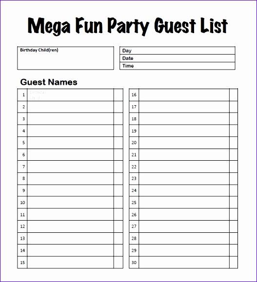 party guest list templates 527579