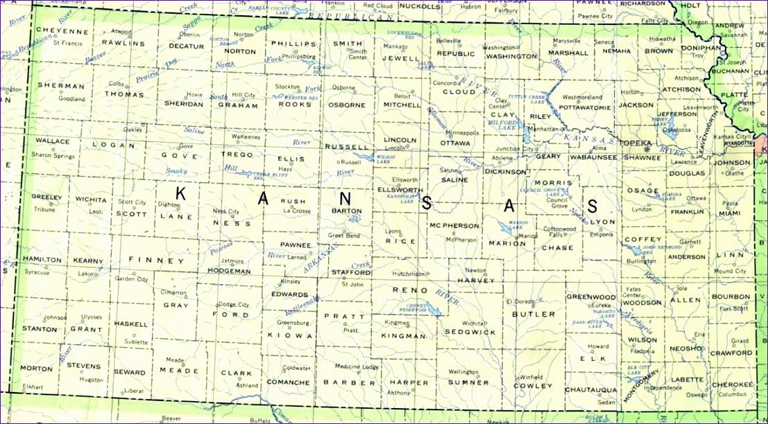 kansas printable map 1107612