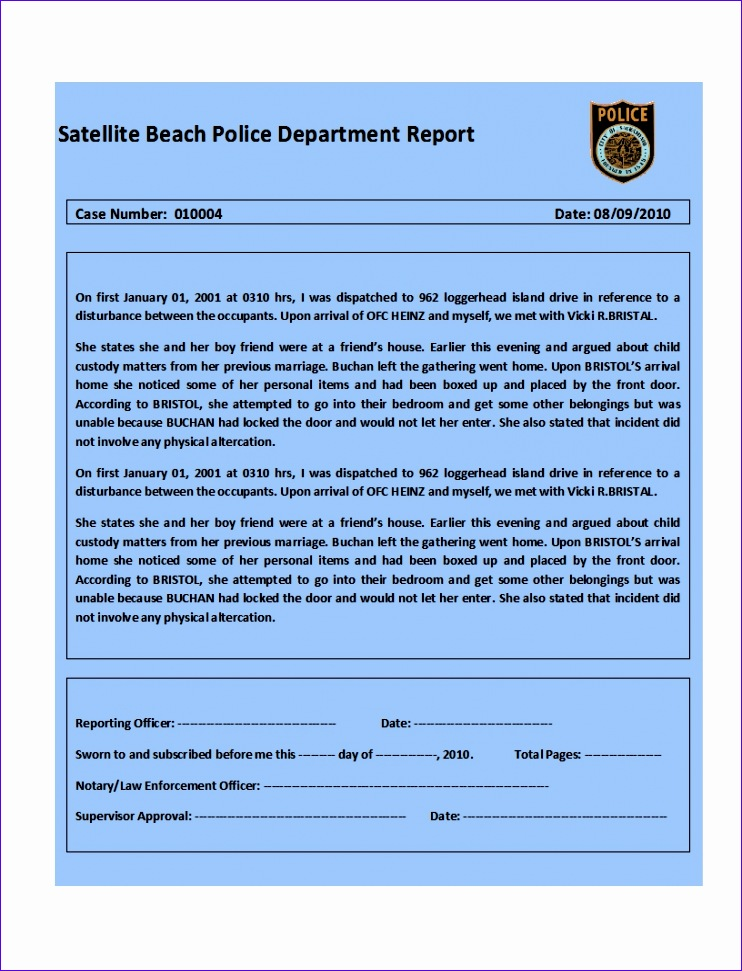 top 4 samples of police report templates word templates excel example 742971