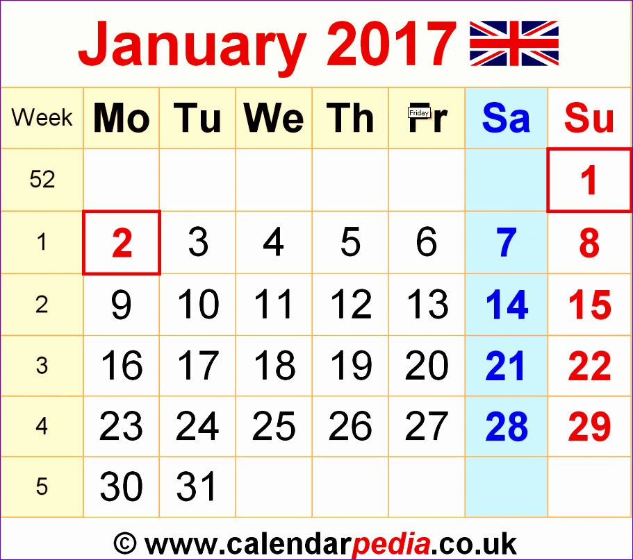 Excel Weekly Schedule Template H8btg Fresh January 2017 Calendar with Holidays Uk 1002878
