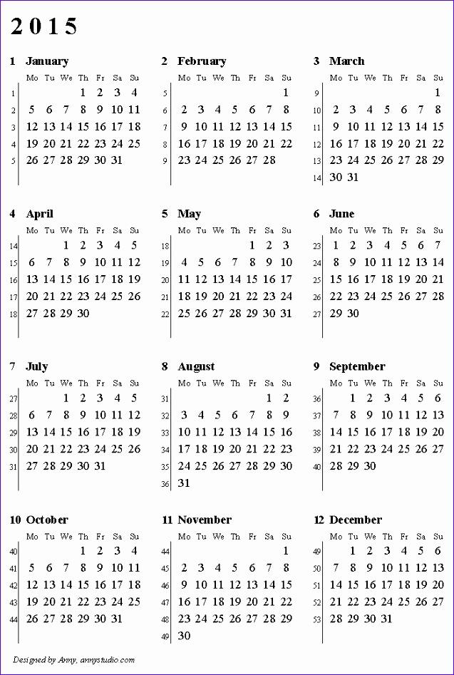 weekly number calendar 2015 272 637947