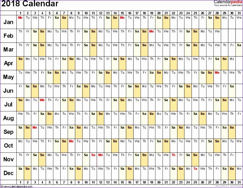2018 calendar excel 596 846655
