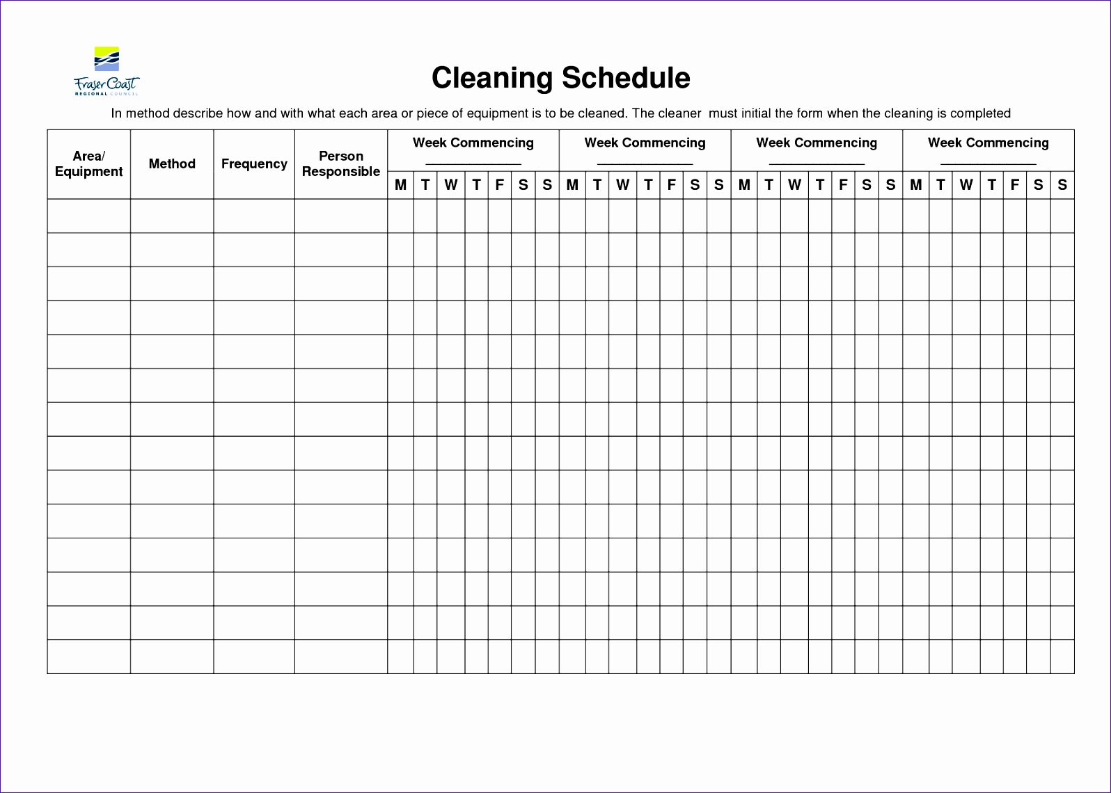 cleaning schedule template 15961140